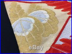 Japanese fukuro obi for kimono, silk, cranes, embroidered, vintage (G2701)