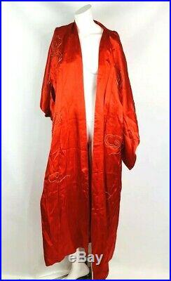 Japanese vtg kimono silk red long robe two gold embroidered dragons 53