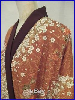 Kimono Jacket Dress #65 Silk Cherry Blossom Floral Japanese Vintage