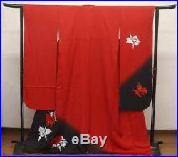 Kimono Vintage Japanese Woman's furisode 3piece set Red Black obi Cattleya Gold