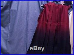 Kimono Vintage Japanese Woman's furisode dark red tea Two-Shaku Sode Hakama set