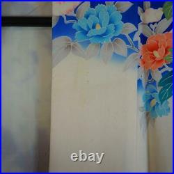 Kimonojapanese Vintage Silk Kimono, Furisode, Cherry Blossoms, Peony. (096)