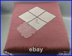 LK Vintage Red Zabuton Japanese Seat Cushion 4 Piece 24in. X 23 in. X 2 in