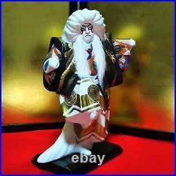 LOT 2 Vintage Japanese Kabuki doll Porcelain Samurai Demon Slayer Red&White hair