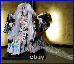 LOT 2 Vintage Japanese Kabuki doll on wooden base Samurai Kimono Red &White hair