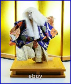 LOT 2 Vintage Japanese Kabuki dolls Gofun Samurai Kimono White&Red hair STUNNING