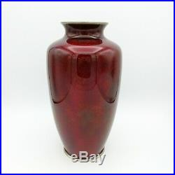 Large 10 tall vintage Japanese Ginbari cloisonne vase red foil background