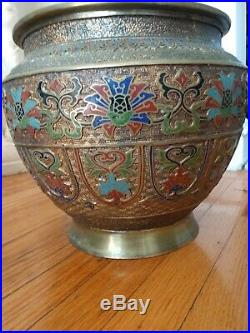 Large Vintage Japanese Champleve Jardiniere With Stand 37 inches high 2 piece