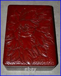 Large Vintage Japanese Red Lacquer Box Floral Design