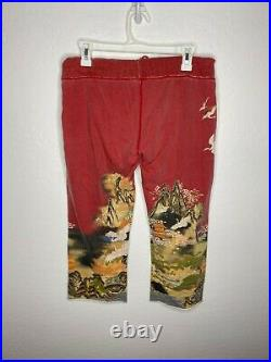 Lucky Brand Vintage Cropped Sweatpants Small Red Asian Inspired Japanese Birds