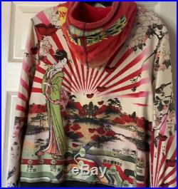 Lucky Brand Vintage Hoodie, Asian, Japanese, Geisha, Cherry Blossom XL