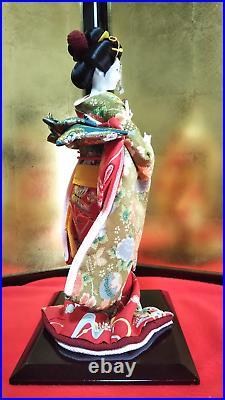 MINT Antique Japanese Geisha Doll in Kimono 17 44cm wooden base Vintage SILK