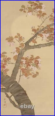 MOON Hanging Scroll Japanese Painting OLD VINTAGE Antique Cherry ART Japan c832