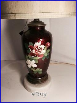 Magnificent VTG PR Japanese Enamel Red Table Lamp WithRose No Shade