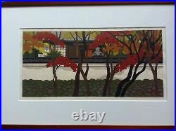 Masao Ido Red leaves road Japanese Woodblock print Signed Rare Vintage