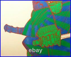 Mid-20th C Vint Japanese Anime Signed 1972 Samurai Warrior Orig Serigraph Ed 250