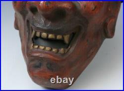 Nice Vintage Japanese Clay Buddhism Mask -Nio- Rare Product