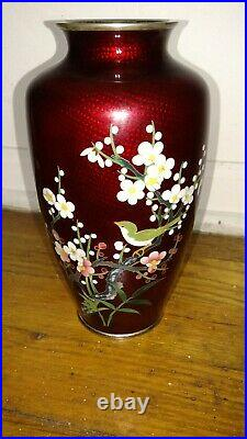 Nice vintage Japanese red cloisonne vase with flowers and bird decoration