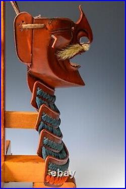 Old Vintage Japanese Samurai Rare Red Menpo -Wearable- Tsushima
