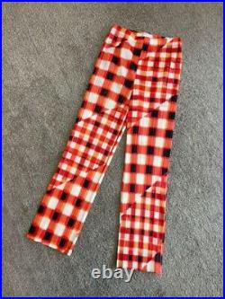 PLEATS PLEASE Plaid Red pants Free size Goods Vintage from japanese K9598