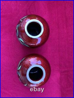 Pair (2) of Vintage Japanese Cloisonne Pigeon Red Vase with Bamboo Squat shape