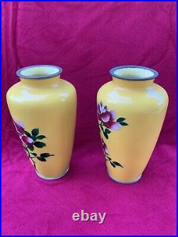 Pair (2) of Vintage Japanese Cloisonne Yellow Vases with Flowers 7.25 tall