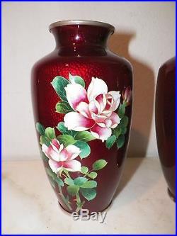 Pair Vintage Japanese Cloisonne Pidgeon Blood Vases Pink Roses 7 1/2 Tall