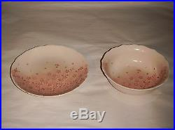 Pair Vintage MID Century Japanese Koiki An Plate & Bowl Peach Cherry Blossoms