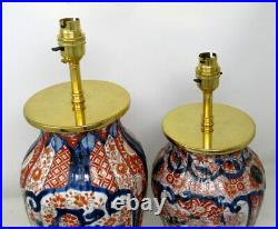 Pair of Antique Japanese Chinese Imari Porcelain Ormolu Table Lamp Blue Red Gilt