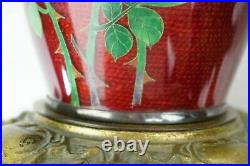 Pair of Vintage Japanese Pigeon Blood Red Cloisonné Flower Vases Lamps Lot of 2