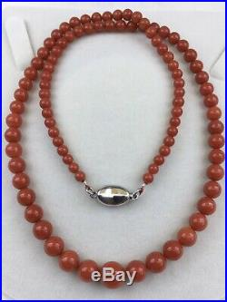 Perfect Gift! Vintage Natural Japanese Aka Ox-Blood Red Coral Necklace 19 G