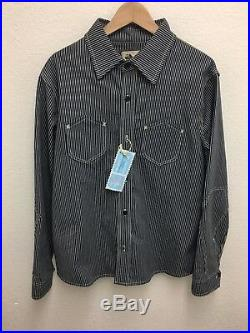 RED WITE BLUE Co THE ENGINEER WORK SHIRT L NEW JAPANESE HICKORY DENIM VINTAGE LS