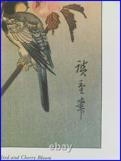 R- Vintage Travel Print -japanese Woodblock Print Bird Cherry Bloom Blossom