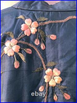 Rare VANTINES Antique 20s Japanese Blue silk Cherry blossom embroidered kimono