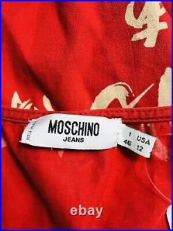 Rare Vtg Moschino Jeans Red Japanese Print Dress XL