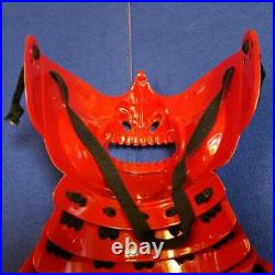 Samurai Mempo Menpo Mask Red Guard Rare Japanese YOROI USED Japan Vintage FedEx