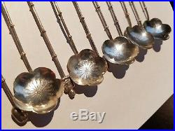 Set of 10 Vintage 950 Sterling Silver Spoons Bamboo Cherry Blossom Flower JAPAN