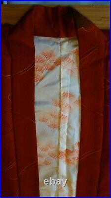 Silk Japanese Kimono Red Clouds Vintage Fabric Handmade