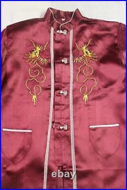Silk satin vintage Japanese full pajama set deep red women in robe box