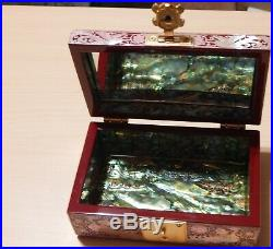 Stunning Vintage Japanese Abalone Inlay Red Laquer Jewelry Box with Mirror