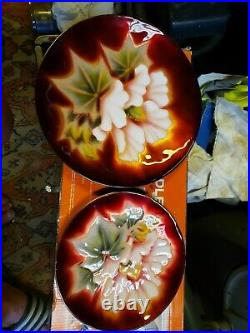 TWO Vintage Ando Japanese Cloisonné plate with Flower