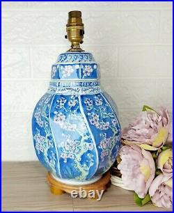 Table Lamp Base Blue Spiral Porcelain With Pink Cherry Blossom Japanese Vintage