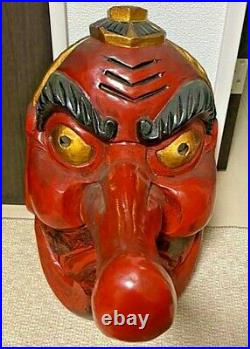Tengu Mask Big Size Wooden Japanese Red Lacquer Noh Japan Antique Meiji Vintage