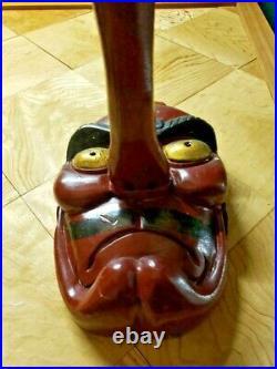 Tengu Mask Big Wooden Japanese Lacquer Noh Kagura Japan Antique Meiji Vintage