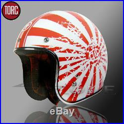 Torc 3/4 Open Face Retro Motorcycle Scooter Helmet Red White Japanese Xs