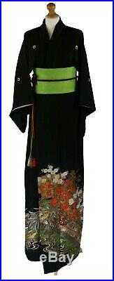 Traditional Japanese Tomesode kimono black vintage silk gown cherry blossom