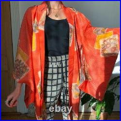 True vintage 1950s silk Japanese kimono orange red hand painted embroider toast