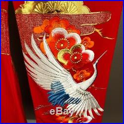 Uchikake Wedding Coat Kimono Red Silk Crane Embroidered Vintage Japanese #9