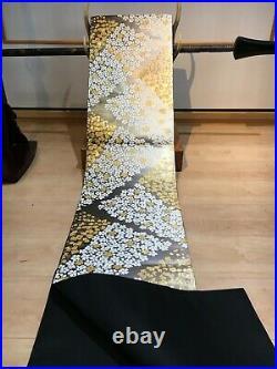 UnusedJapanese Kimono Vintage Fukuro OBI, Silver / Gold/ White, Cherry blossoms
