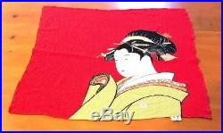 VINTAGE JAPANESE GEISHA Geiko Girl PRINT SCARF 24.5x 21